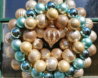 Teal & Gold,  wreath, christmas bauble, decoration, handmade wreath, door decor, christmas, baubles