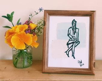 Figurative Print | Framed Art| Baby Blue and Pale Pink | Illustration | Annabel Wyatt Art | 25 X 20cm