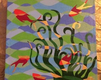 "Colourful acrylic painting fish & seaweed ""dive deep + make waves"""