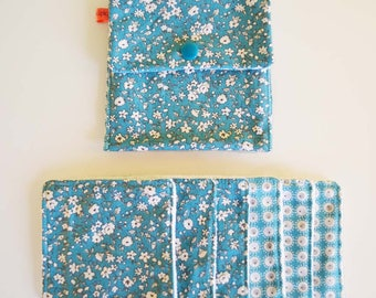 """Wipes cleansing washable tencel micro-eponge cover + organic """"blue and white flowers"""""""