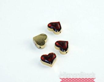 """Destash"" small charm - brass, red gold - (Dimensions: 11 x 10 x 5 mm)"