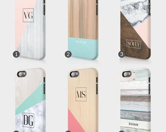 Personalised Marble Wood Paste Colours Initials Custom Phone Case For Iphone & Samsung 3D Full Wrap Hard Cover Gift