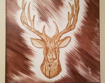 Canvas Painting, Deer, Antlers,
