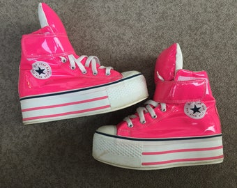 Max star converse hot pink platform sneakers size 6-6.5