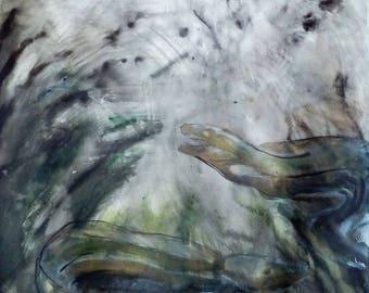 Eels watercolor painting eel