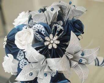 Wedding Bouquet, Bridal Bouquet, Bridesmaid Bouquet, Boutonniere, Paper Bouquet, Origami Bouquet, Flowers, roses, lilies, Navy Blue White