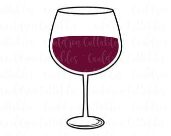 Wine Glass SVG File - Wine Lover Clipart - Drink dxf EPS PNG Cut File - Diecut Machine Digital File