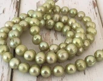"""Peridot Green Freshwater Pearl Potato Beads, 16"""" strand"""