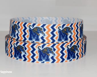"University of Memphis 1"" Grosgrain Ribbon 129A By the Yard"