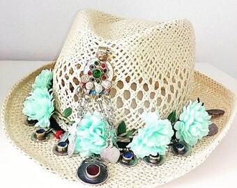 Boho Hat, Tribal Hat, Vintage Hat, Exclusive Hat, Ethnic Hat