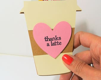 Gift Card Holder Thanks a Latte Beige with Pink Heart