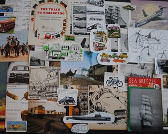 Vintage Transport Inspiration Pack Junk Journal Kit, Paper Ephemera Scrap Pack, Scrapbooking, Junk Journals, Smash books, Paper Crafts