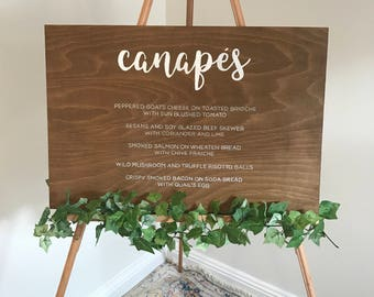 Customised CANAPES menu sign // bespoke signs // rustic wedding decor // wedding signs // wood signage
