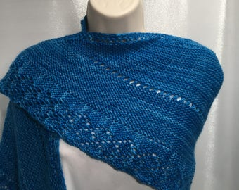Hand knit shawlette; blue superwash merino wool shawl or scarf with lace trim