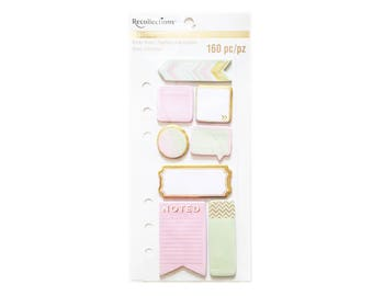 Sticky Notes for Planners and Scrapbooking, Recollections Brand, Pinks and Greens