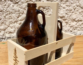 Handmade Growler Carrier | Hops and Pine | Craft Beer| Beer Carrier | Natural Pine | Assembled
