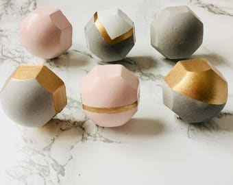 Concrete painted furniture knobs / drawer pulls - pink and gold