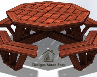 Easy DIY Large Octagon Picnic Table - Bench Woodworking Design Plans - Instructions 10