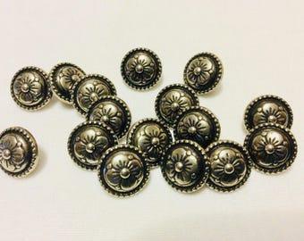 16 Vintage Antique Nickel Floral Shank Buttons