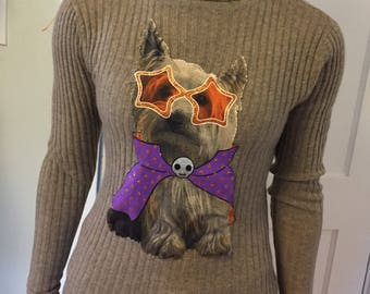 Recycled vintage cashmere turtleneck sweater with funky yorkie graphic image