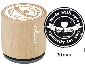 Stamp Ø 30 mm-made with love-hand made, wood
