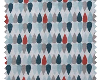 "Fabric ""Plima blue / red"" 100% cotton sold by the yard"