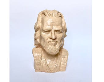 Jeffrey Lebowski handmade bust, The Dude gypsum bust, The Big Lebowski cult film hero figurine, played by Jeff Bridges, white