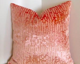 Salmon Pink Velvet Pillow Cover, Pink Pillow, Velvet Pillow, Decorative Throw Pillow, Velvet Cushion, Salmon Pink Velvet Couch Pillow Covers