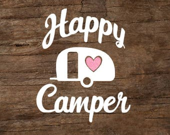 Happy Camper Glitter Heart Window Decal