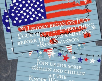 Custom Fourth of July Party Invitation or Card