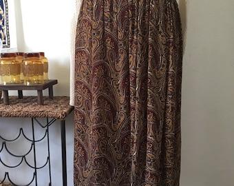 Vintage Earth toned Paisley Full Length Skirt