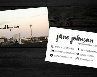DIGITAL Seattle Skyline Business Card Template - Gray - Space Needle