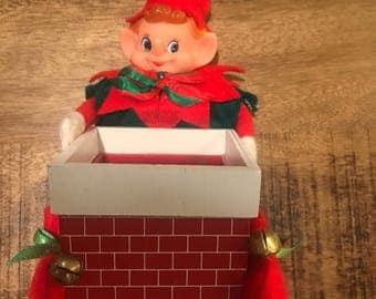 Vintage Pixie Elf with Chimney Christmas Figurine