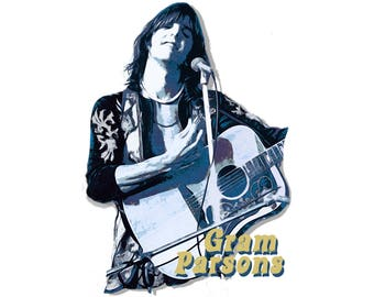 T-SHIRT: Gram Parsons Grievous Angel - Classic T-Shirt & Ladies Fitted Tee - (LazyCarrot)