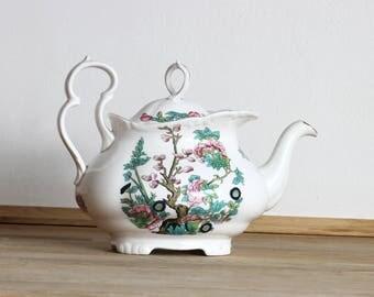 Oval Teapot, Vintage Teapot, Bone China Teapot, English Teapot, Floral Teapot, Ceramic Teapot,  English Bone China Teapot