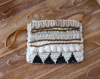 Woman Leather Wallet, bohemian leather wallet, tan leather beaded wallet, leather beaded wallet