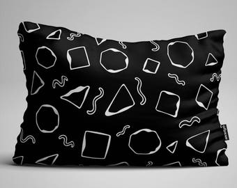 Black Geometric Lumbar Pillow, Throw Pillow, Black and White Pillow, Rectangular Pillow, Decorative Pillow, Throw Pillows, Pillow, Pillows