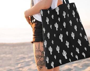 Cactus Tote Bag, Black and White, Cactus Bag, Totes, Reusable, Beach Bag, Bags, Tote Bags, Tote, Big Tote Bag, Grocery Bag, Shoulder Bag