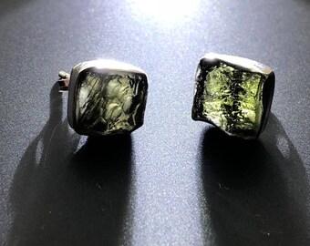 Beautiful Sterling Silver Moldavite Drop Earrings From Moldau River ~ 2.5gm