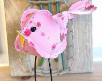 Fabric bird, pink floral, fabric birds, cute stuffed bird, cloth birdie, stuffed animal, bird collection, bird, birdie, pink and pink