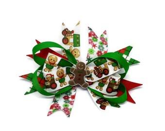 Gingerbread man Hair clip ~ Xmas Hair Bow ~Christmas gingerbread man stacked boutique bow ~ Xmas Gingy hair bow ~ Xmas hair accessories