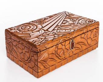 Carved wooden jewellery box Vintage