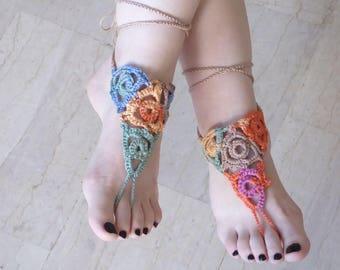 Barefoot sandals, crochet elegant multicolor barefoot sandals, beach pool foot jewlery, multicolor crochet summer shoes