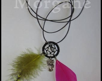 Necklace feathers Dreamcatcher yellow/pink