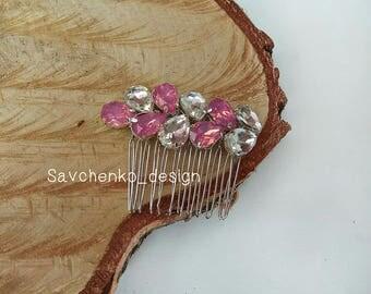 Rose opal hair comb Swarovski Crystal  Rose Quartz Bridal Headpiece Antique hair piece Babys breath hair piece Capelli sposa Moonstone hair