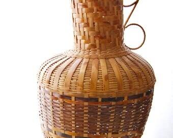 Large Vintage Rattan/Raffia/Woven/Straw Carafe/Vase/Vessel/Decor
