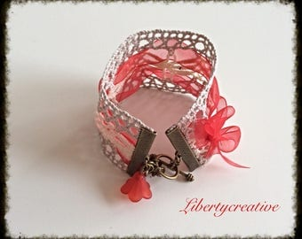 Ecru lace and organza red Cuff Bracelet