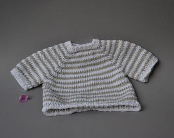 Knit dress made of cotton and linen - Waldorf doll clothes Steiner doll clothes Waldorf doll dress Steiner doll dress knit ringed stripes