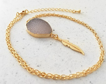 Get 10% OFF - Natural Druzy Necklace - Druzy Pendant Necklace - Feather Charm Necklace - 24K Gold Plated Necklace - Valentine Day SALE 2018