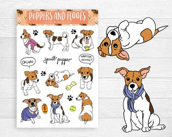 Jack Russell Terrier Puppy Dog Stickers 9PK